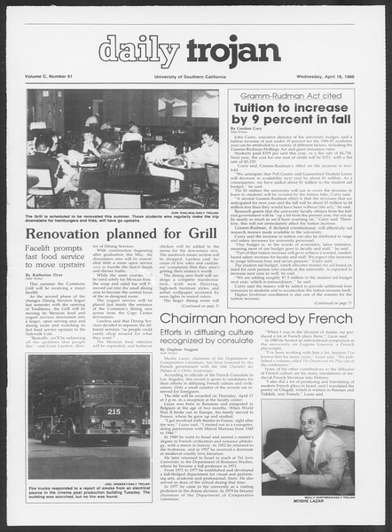 Daily Trojan, Vol. 100, No. 61, April 16, 1986