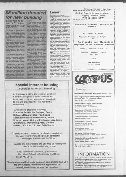 Daily Trojan, Vol. 108, No. 54, April 10, 1989