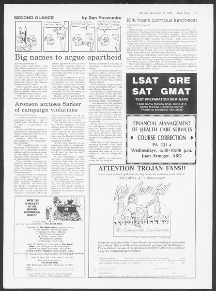 Daily Trojan, Vol. 100, No. 52, November 18, 1985