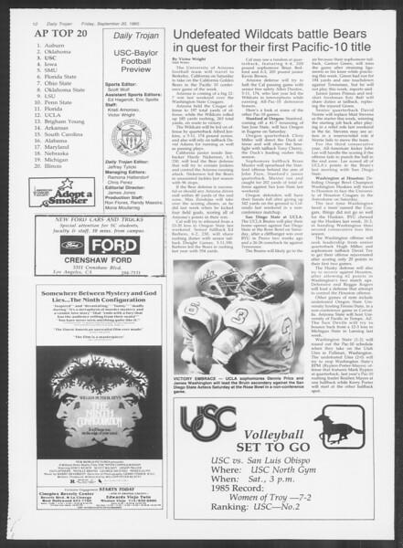 Daily Trojan, Vol. 100, No. 14, September 20, 1985