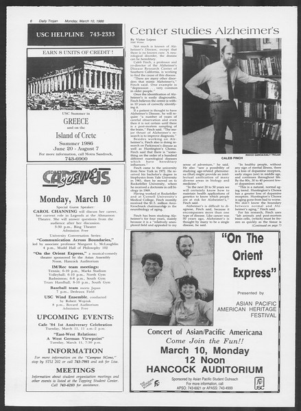 Daily Trojan, Vol. 100, No. 40, March 10, 1986