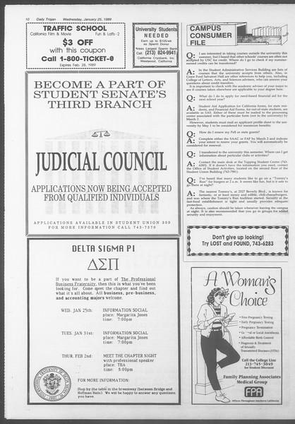 Daily Trojan, Vol. 108, No. 9, January 25, 1989