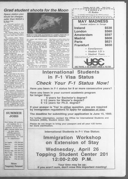 Daily Trojan, Vol. 108, No. 65, April 25, 1989