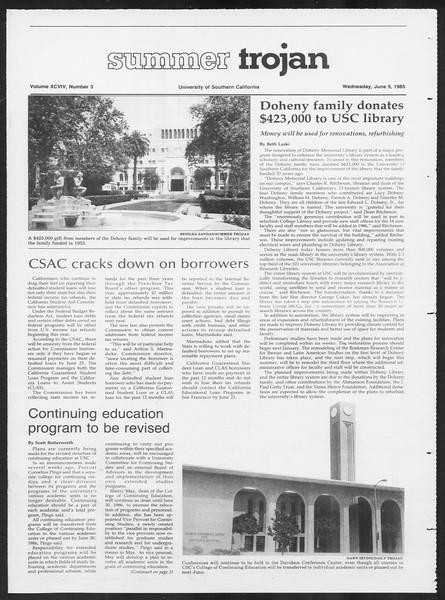 Summer Trojan, Vol. 99, No. 3, June 05, 1985
