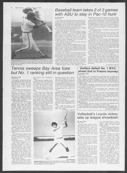 Daily Trojan, Vol. 95, No. 62, April 16, 1984