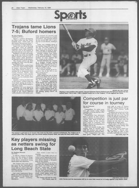 Daily Trojan, Vol. 108, No. 24, February 15, 1989