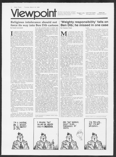 Daily Trojan, Vol. 100, No. 46, March 18, 1986