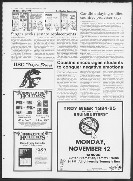 Daily Trojan, Vol. 97, No. 49, November 12, 1984
