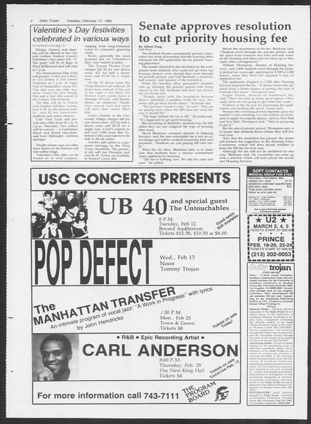 Daily Trojan, Vol. 98, No. 23, February 12, 1985