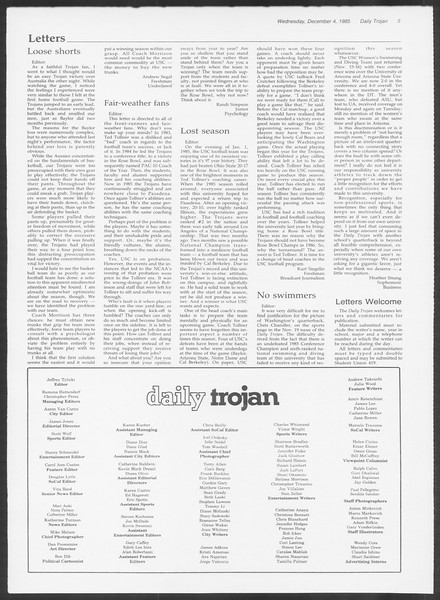 Daily Trojan, Vol. 100, No. 60, December 04, 1985