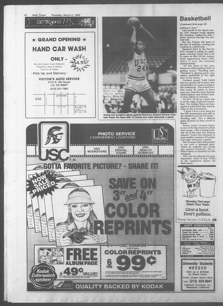 Daily Trojan, Vol. 108, No. 33, March 02, 1989