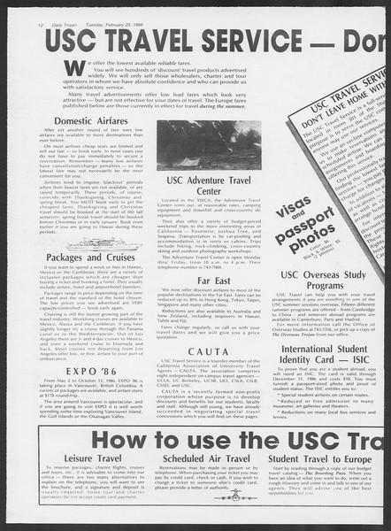 Daily Trojan, Vol. 100, No. 31, February 25, 1986