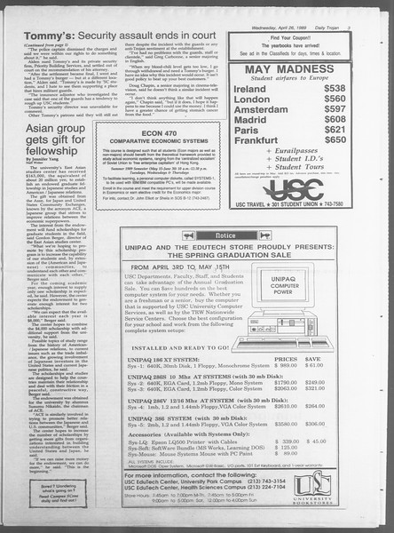 Daily Trojan, Vol. 108, No. 66, April 26, 1989