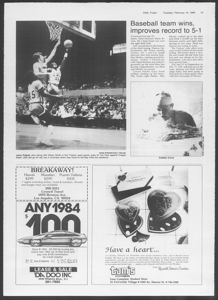 Daily Trojan, Vol. 95, No. 26, February 14, 1984