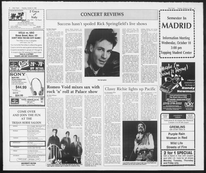Daily Trojan, Vol. 97, No. 26, October 09, 1984