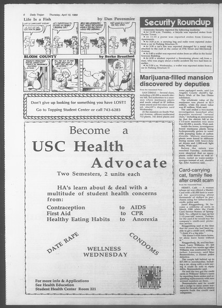 Daily Trojan, Vol. 108, No. 57, April 13, 1989