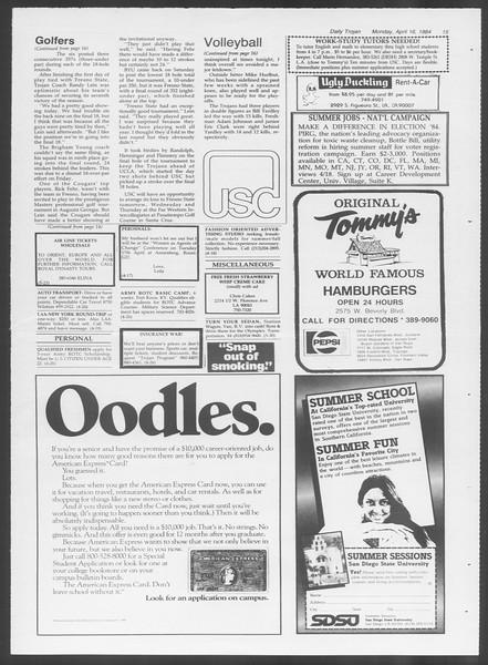 Daily Trojan, Vol. 95, No. 62, April 16, 1984
