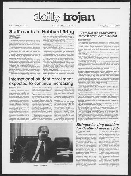 Daily Trojan, Vol. 97, No. 9, September 14, 1984