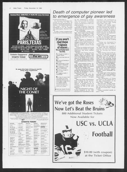 Daily Trojan, Vol. 97, No. 53, November 16, 1984