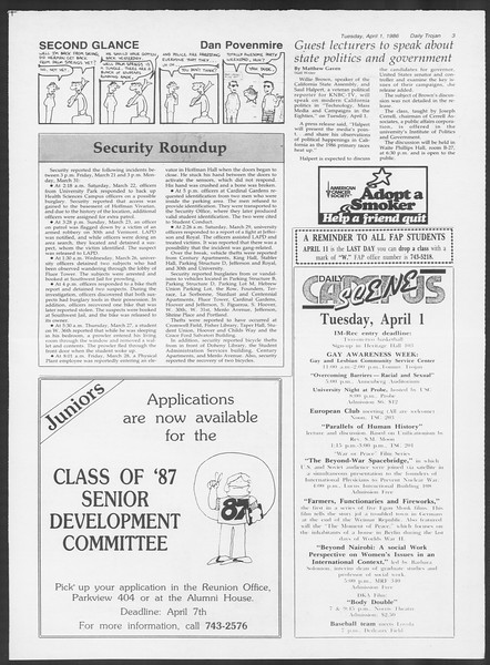 Daily Trojan, Vol. 100, No. 50, April 01, 1986