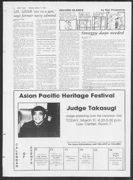 Daily Trojan, Vol. 98, No. 40, March 11, 1985