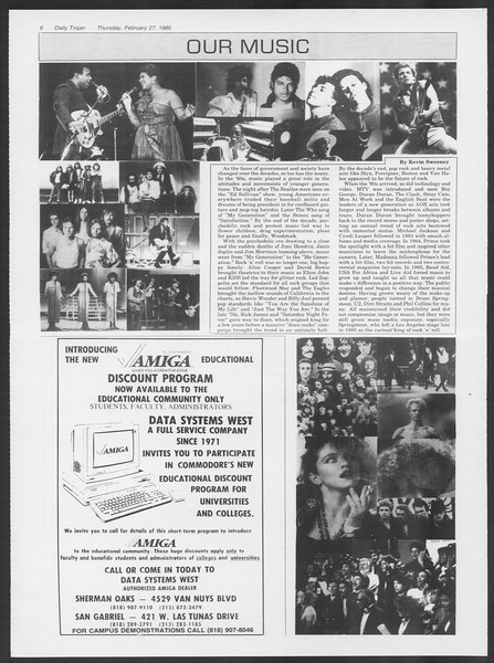 Daily Trojan, Vol. 100, No. 33, February 27, 1986