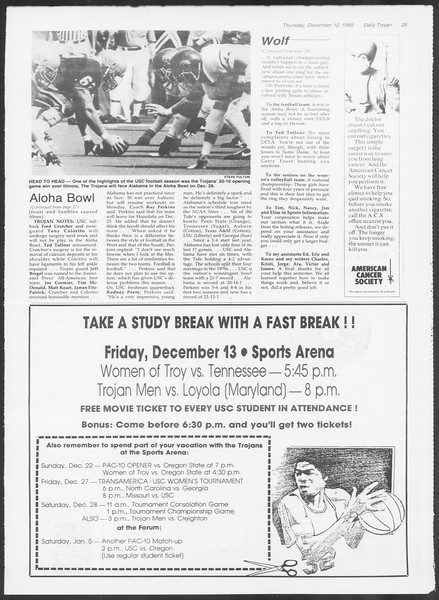 Daily Trojan, Vol. 100, No. 66, December 12, 1985