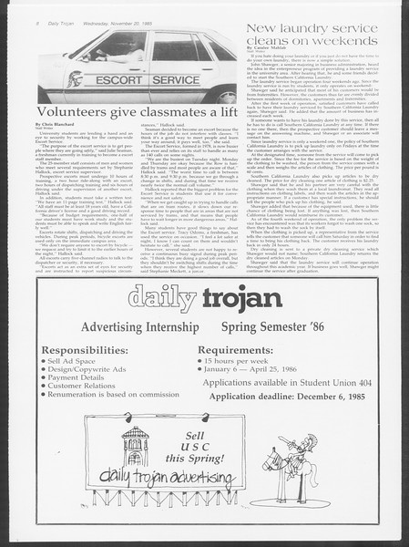 Daily Trojan, Vol. 100, No. 54, November 20, 1985