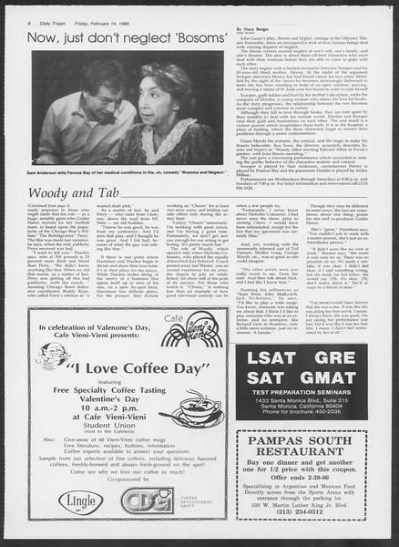 Daily Trojan, Vol. 100, No. 26, February 14, 1986