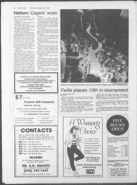 Daily Trojan, Vol. 108, No. 23, February 14, 1989