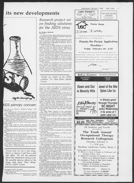 Daily Trojan, Vol. 100, No. 19, February 05, 1986