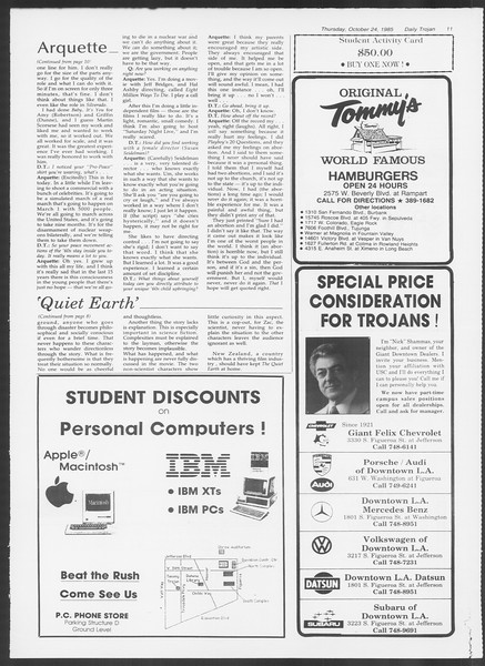 Daily Trojan, Vol. 100, No. 38, October 24, 1985