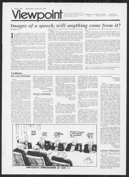 Daily Trojan, Vol. 100, No. 9, January 22, 1986