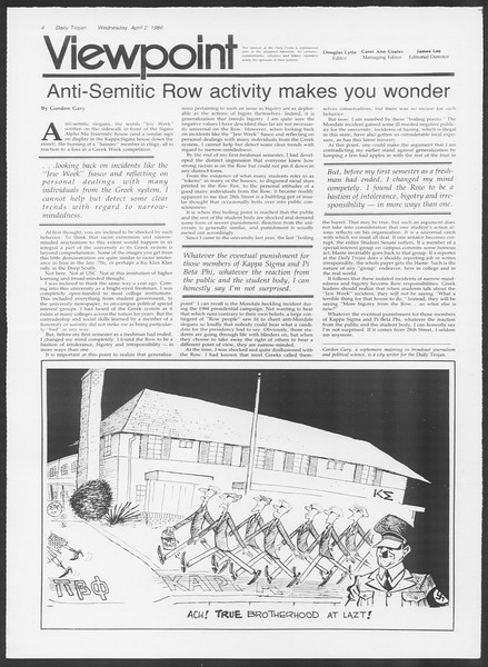 Daily Trojan, Vol. 100, No. 51, April 02, 1986