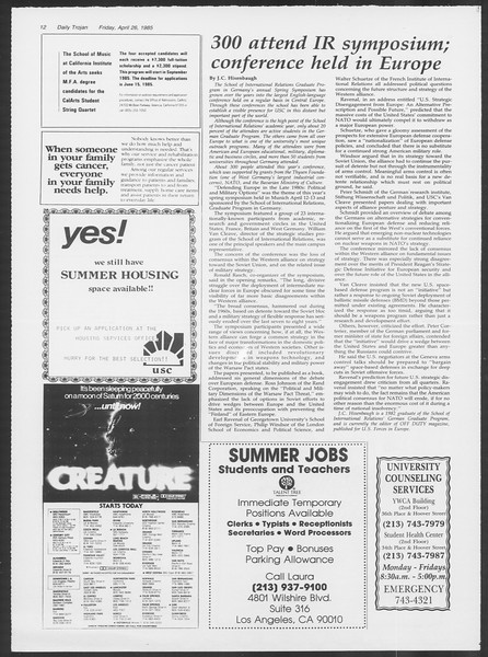 Daily Trojan, Vol. 98, No. 68, April 26, 1985
