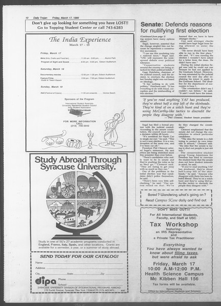 Daily Trojan, Vol. 108, No. 44, March 17, 1989