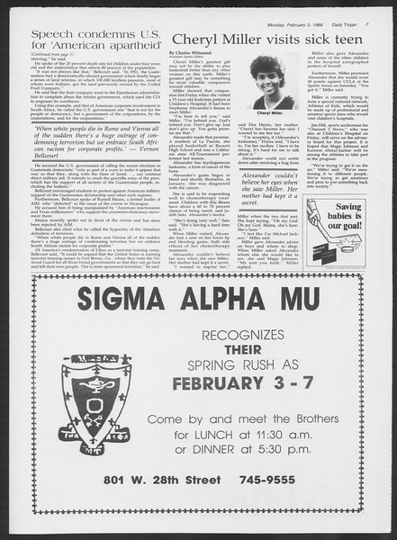 Daily Trojan, Vol. 100, No. 17, February 03, 1986