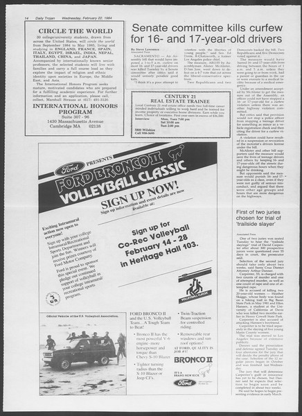 Daily Trojan, Vol. 95, No. 30, February 22, 1984
