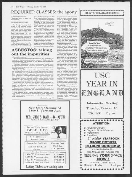 Daily Trojan, Vol. 100, No. 30, October 14, 1985