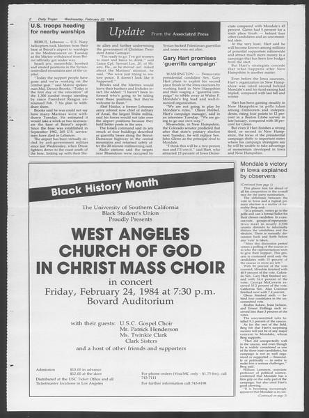 Daily Trojan, Vol. 95, No. 30, February 22, 1984