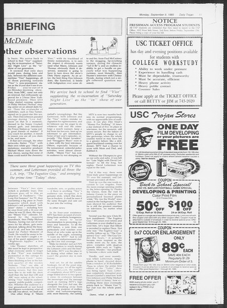 Daily Trojan, Vol. 100, No. 5, September 09, 1985