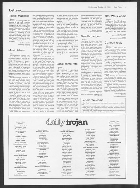 Daily Trojan, Vol. 100, No. 32, October 16, 1985