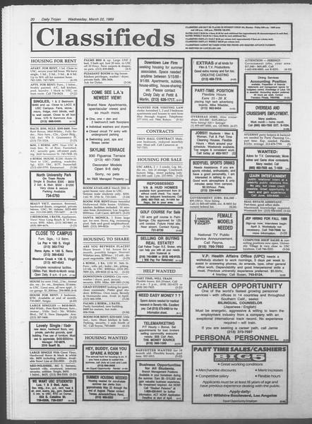 Daily Trojan, Vol. 108, No. 47, March 22, 1989