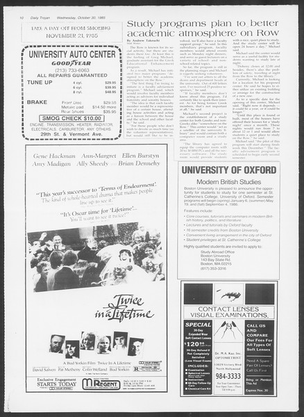 Daily Trojan, Vol. 100, No. 42, October 30, 1985
