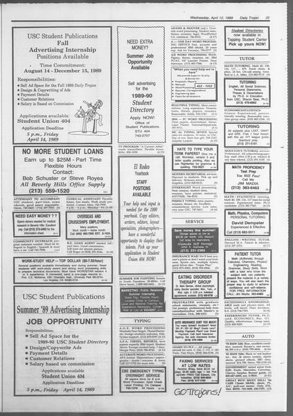 Daily Trojan, Vol. 108, No. 56, April 12, 1989