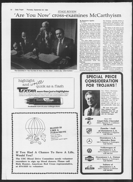 Daily Trojan, Vol. 97, No. 13, September 20, 1984