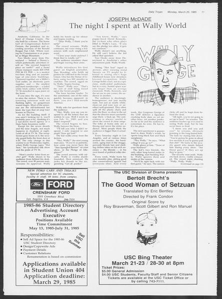Daily Trojan, Vol. 98, No. 50, March 25, 1985