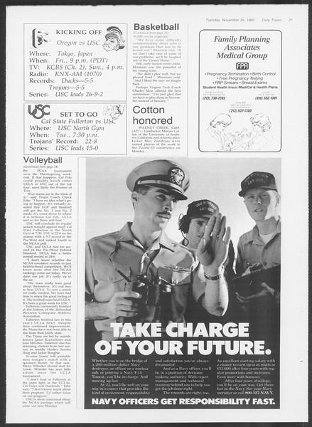 Daily Trojan, Vol. 100, No. 58, November 26, 1985