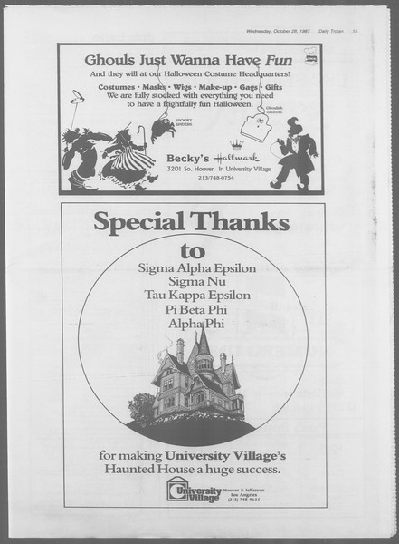 Daily Trojan, Vol. 105, No. 39, October 28, 1987