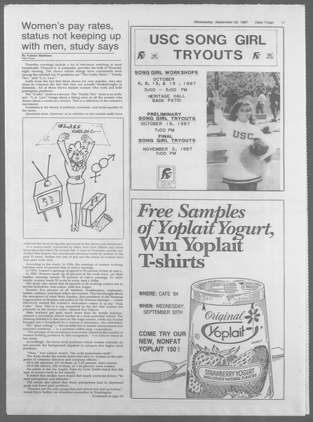 Daily Trojan, Vol. 105, No. 19, September 30, 1987
